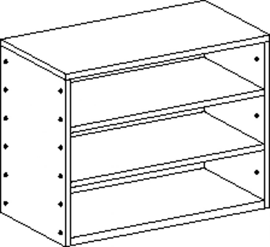 Cupboard without plinth and with 2 shelves