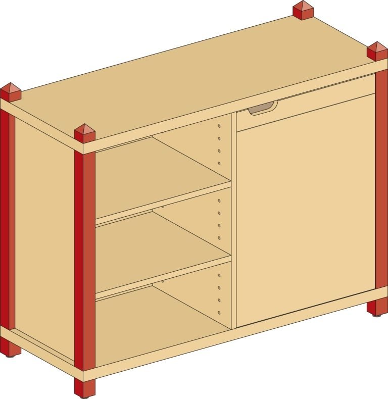 Combined one-door cupboard with 4 shelves