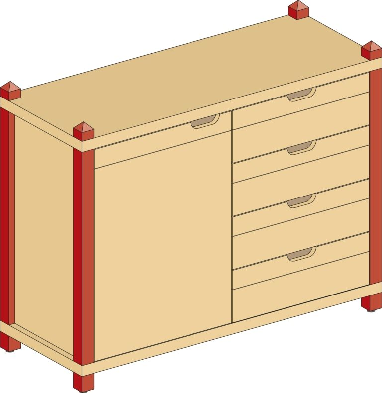 Combined one-door cupboard with drawers