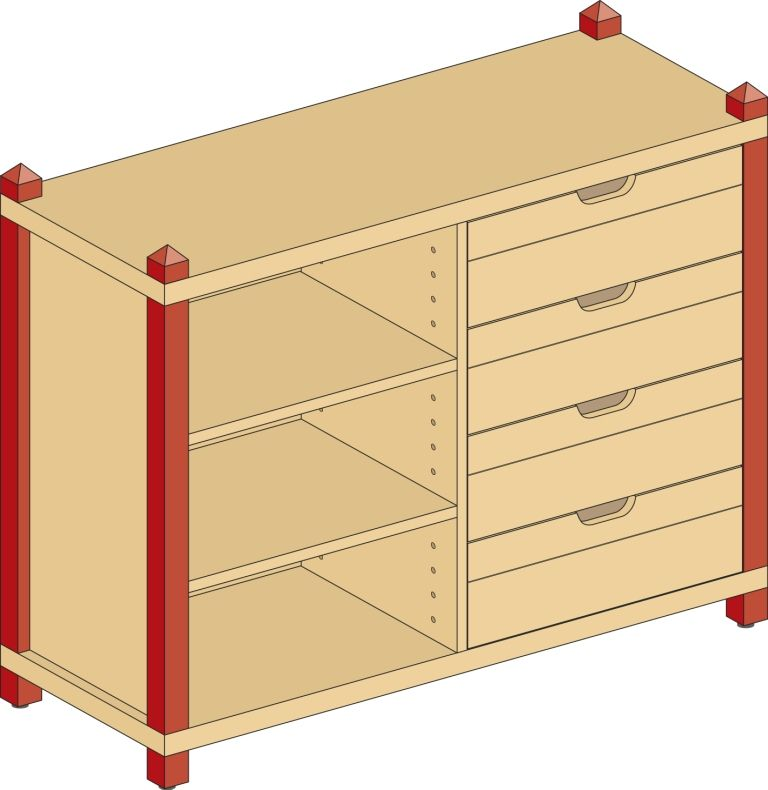 Combined cupboard with drawers and 2 shelves