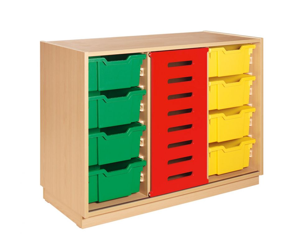 Cupboard with rolling red door and green and yellow plastic drawers