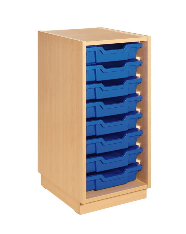 Cupboard with plint and blue plastic drawers