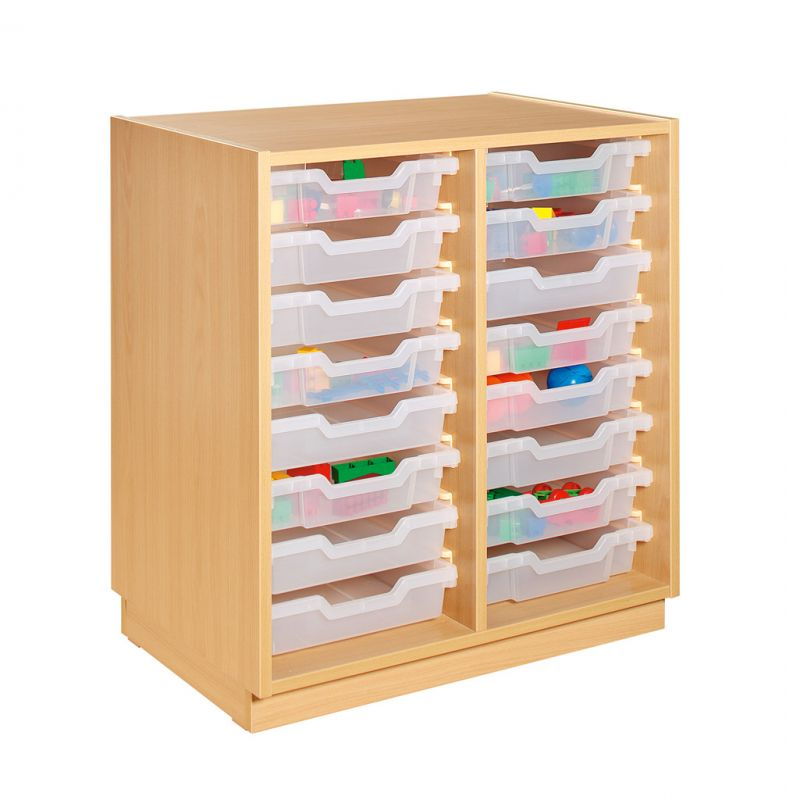 Cupboard with 16 plastic drawers