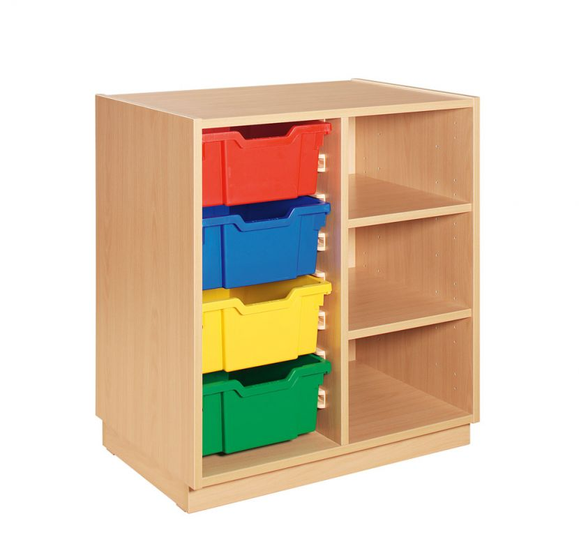 Cupboard with colour combination of plastic drawers