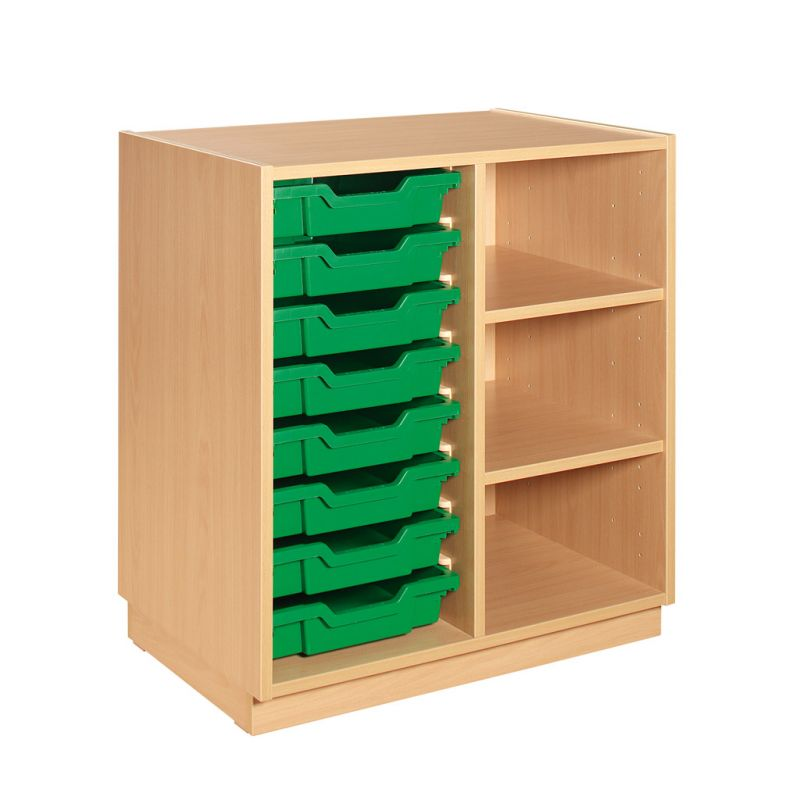 Cupboard with plint, 2 shelves and 8 plastic drawers