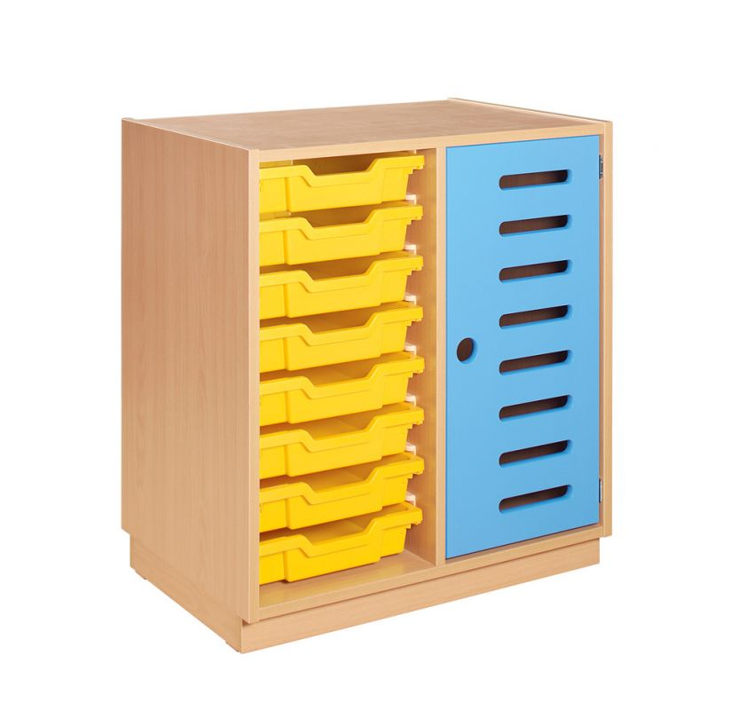 Cupboard with plint door, 2 shelves and yellow plastic drawers