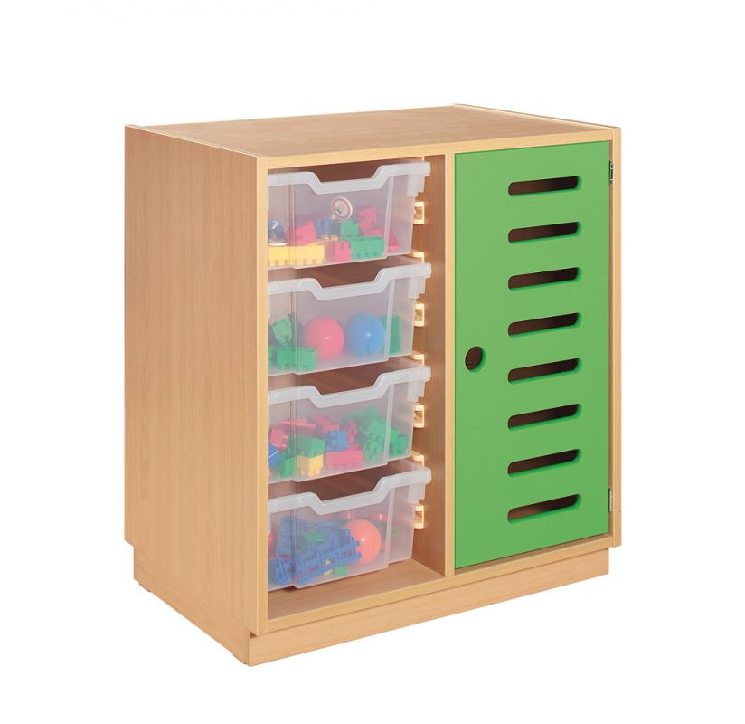Cupboard with green door and clear plastic drawers
