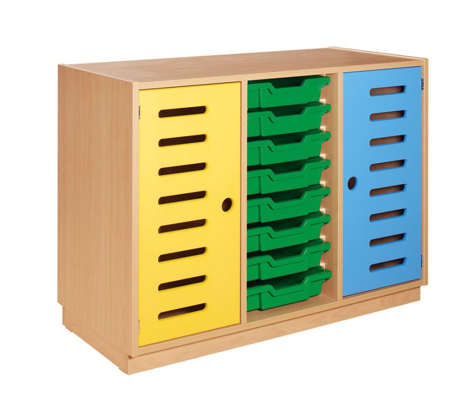 Cupboard with yellow and blue doors and 8 green plastic drawers