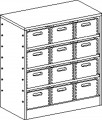 Cupboard with plinth and 3 shelves and 12 drawers