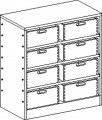 Cupboard with plinth and 3 shelves and 8 drawers
