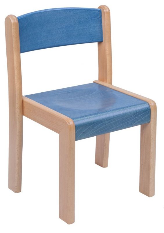 Stackable chair TIM with stained seat and back