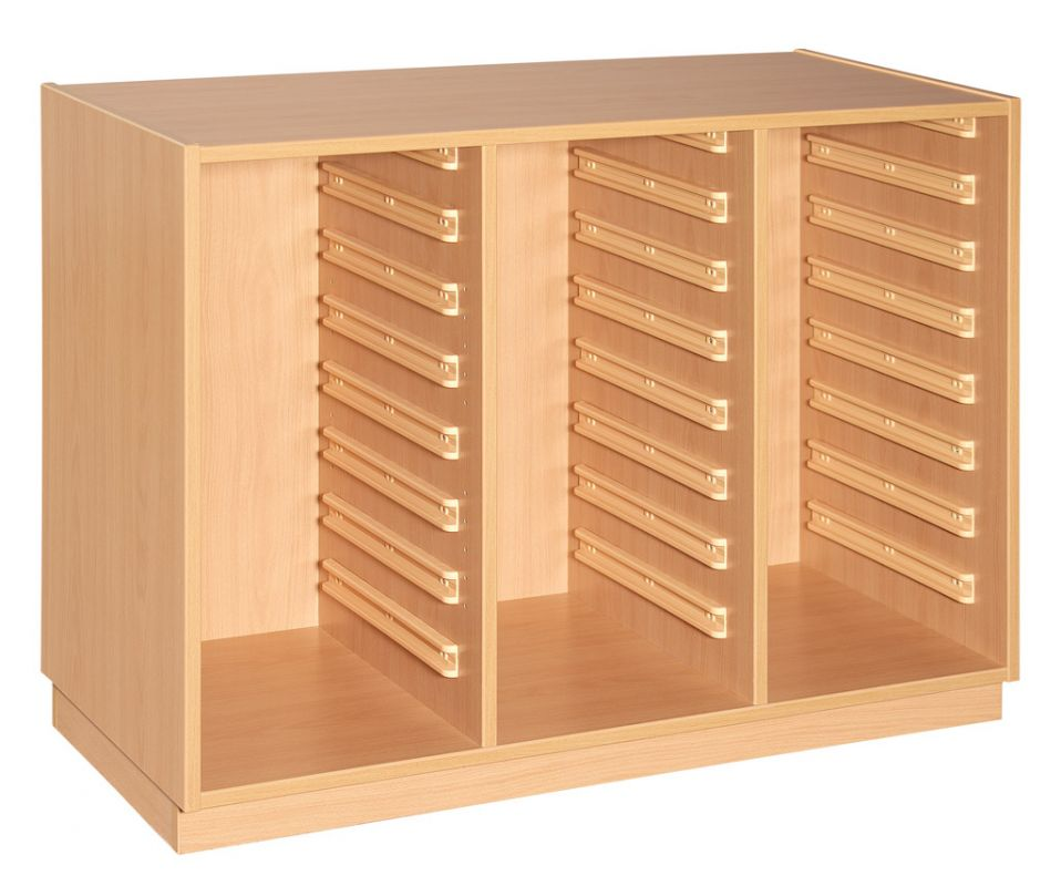 Cupboard with plint for 3x8 plastic drawers