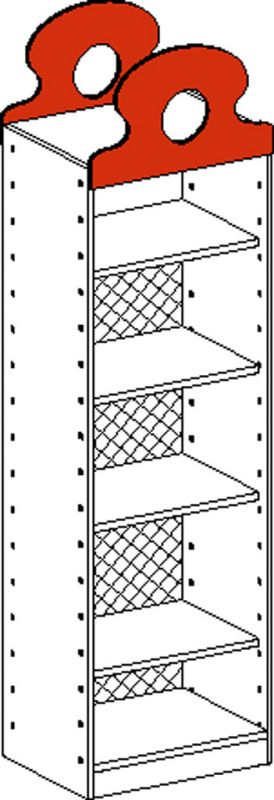 Cupboard with 1 fix. shelf and 3 adj. shelf and back panel up to 2/3