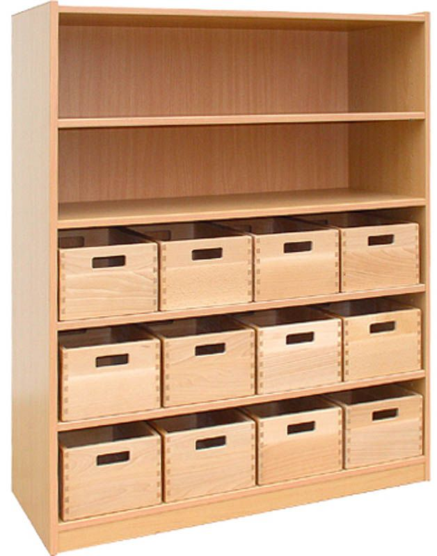 Cupboard with 4 shelves and 12 drawers