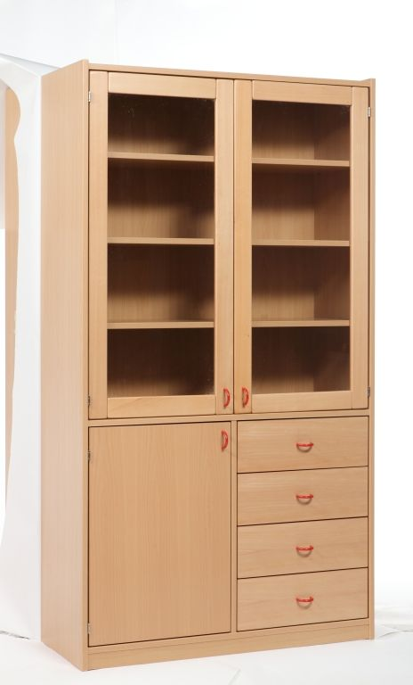 Cabinet with glass doors, full doors and drawers