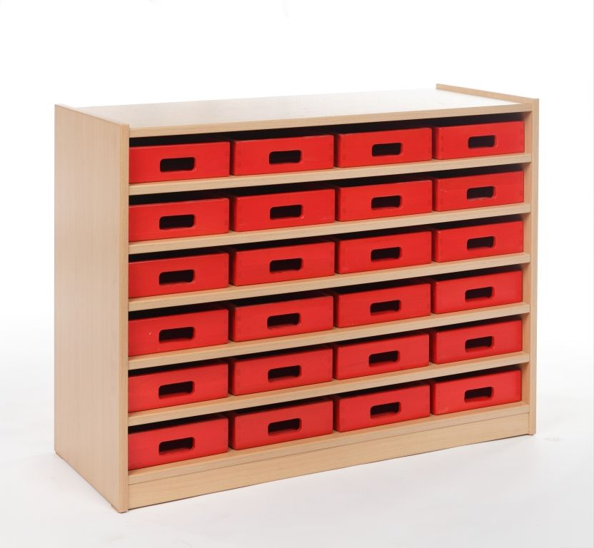 Cupboard with 5 shelves and 24 drawers
