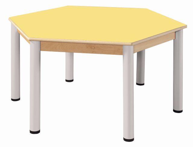 Hexagonal table run. 120 cm / height adjustable legs 36 - 52 cm