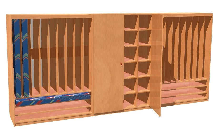 Set of cupboards for beddings and mattress for 24 childrens