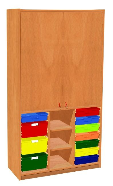 Cabinet with doors and 11 plastic drawers