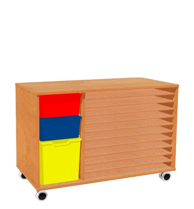 Chest for papers A2 and 3 plastic drawers, MIKI ROLL wheels