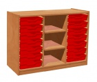 View detail - Cupboard with plint, 2 shelves and 14 plastic drawers