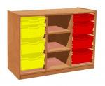 Cupboard with plint, 2 shelves and 6+2 plastic drawers TVAR v.d. Klatovy