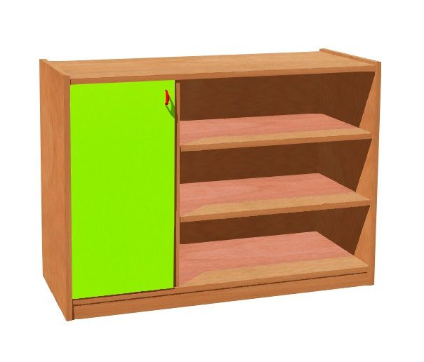 Cupboard with plint, door left and 4 shelves TVAR v.d. Klatovy