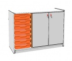 View detail - Cupboard with plinth, 2 doors right and 7 plastic drawers