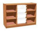 Cupboard with plint, 4 shelves and 3+1 plastic drawers TVAR v.d. Klatovy