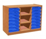 Cupboard with plint, 2 shelves and 14 plastic drawers TVAR v.d. Klatovy