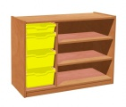 View detail - Cupboard with plint, 2 shelves and 3+1 plastic drawers