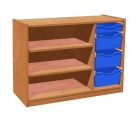 Cupboard with plint, 2 shelves and 3+1 plastic drawers