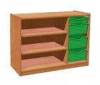 Cupboard with plint, 2 shelves and 3+1 plastic drawers TVAR v.d. Klatovy