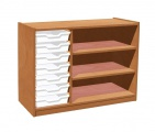 Cupboard with plint, 2 shelves and 7 plastic drawers TVAR v.d. Klatovy