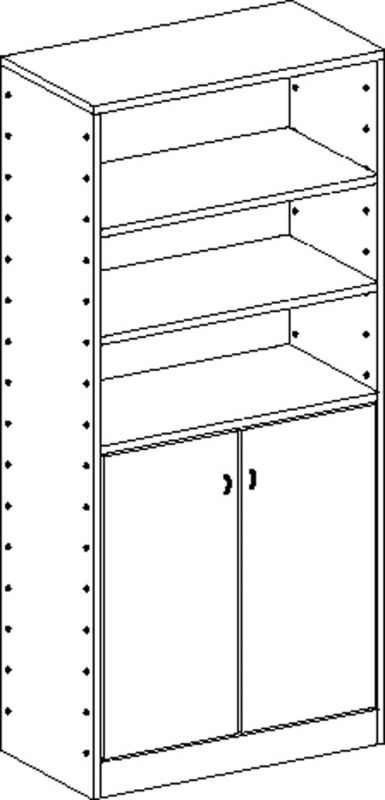 Cabinet with 4 shelves and double-door