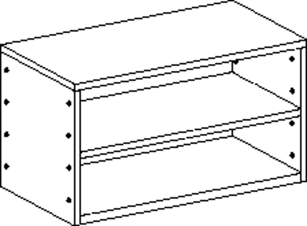 Cupboard without plinth and with 1 shelf