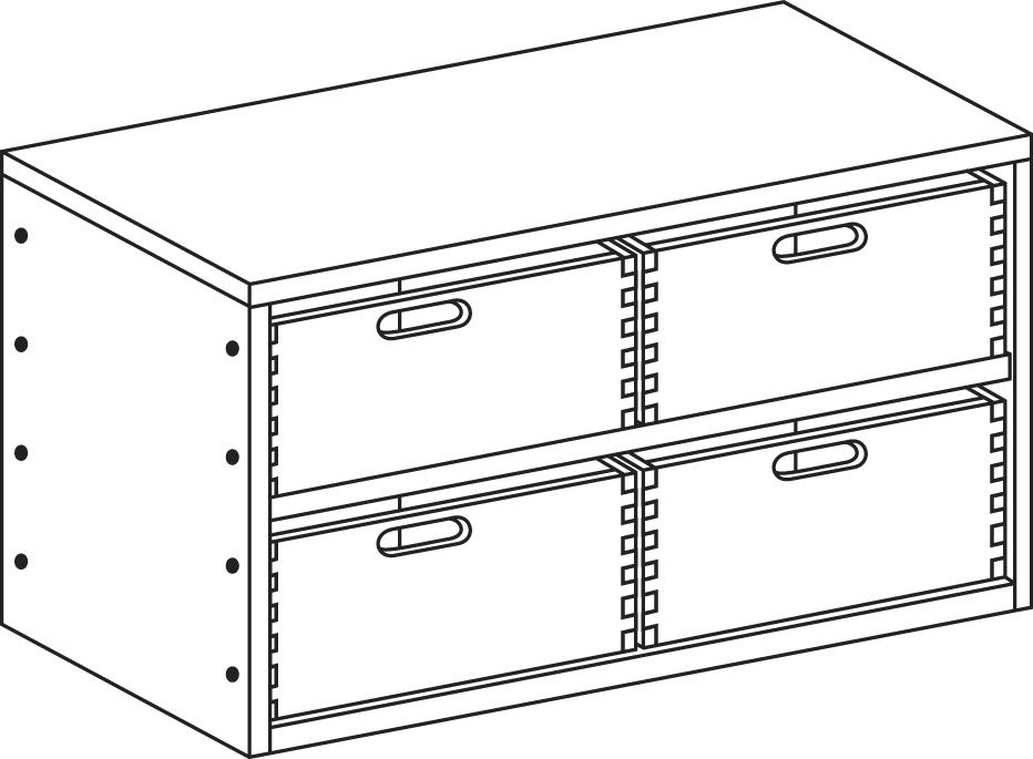 Cupboard without plinth and with 1 shelf and 4 drawers