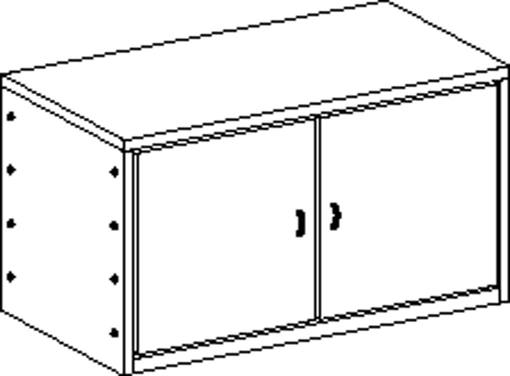 Double-door cupboard without plinth and with 1 shelf