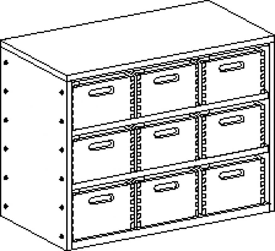 Cupboard without plinth and with 2 shelves and 9 drawers