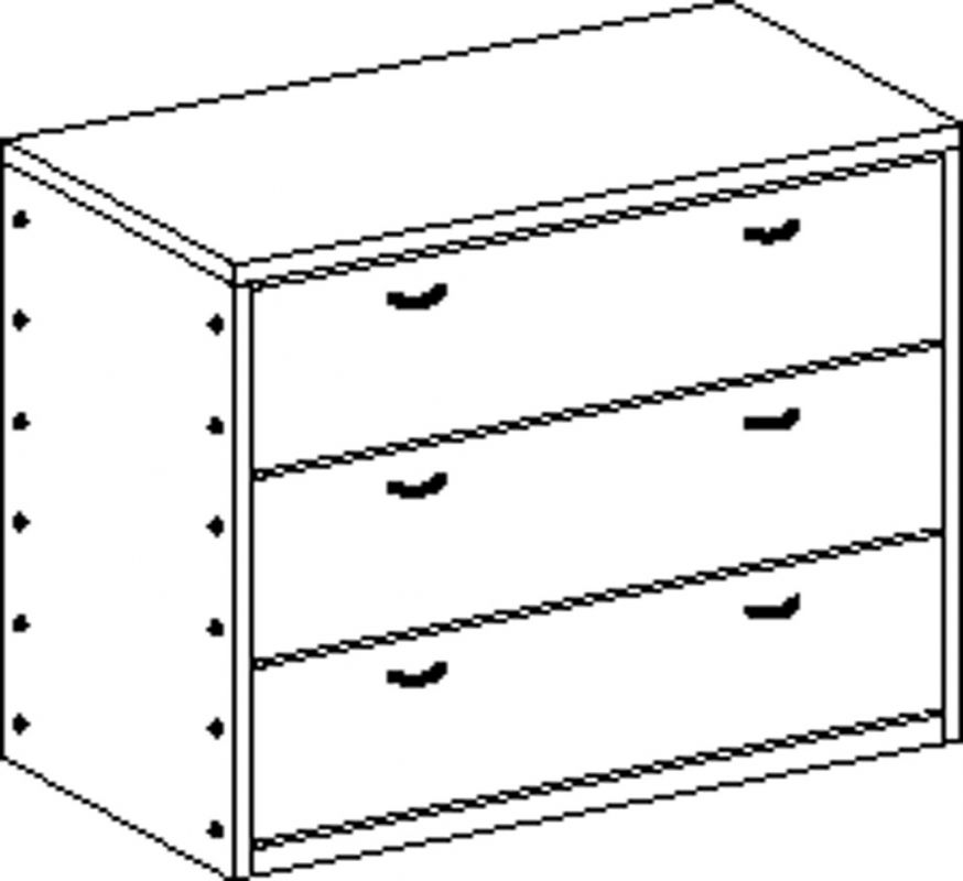 Cupboard without plinth and with 3 drawers