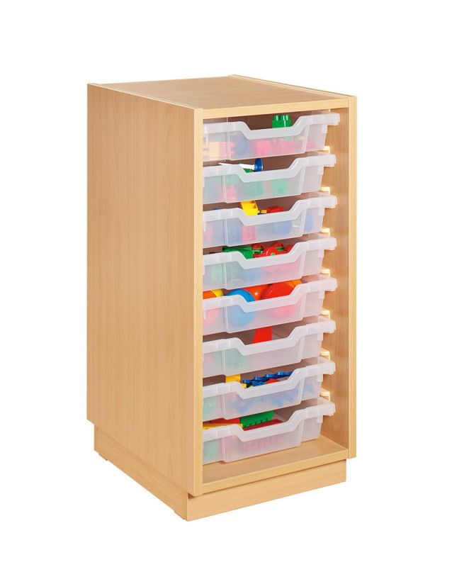 Cupboard with plint and 8 plastic drawers