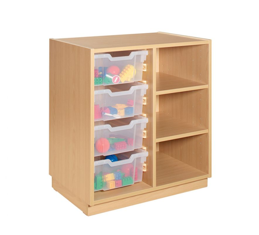 Cupboard with clear plastic drawers