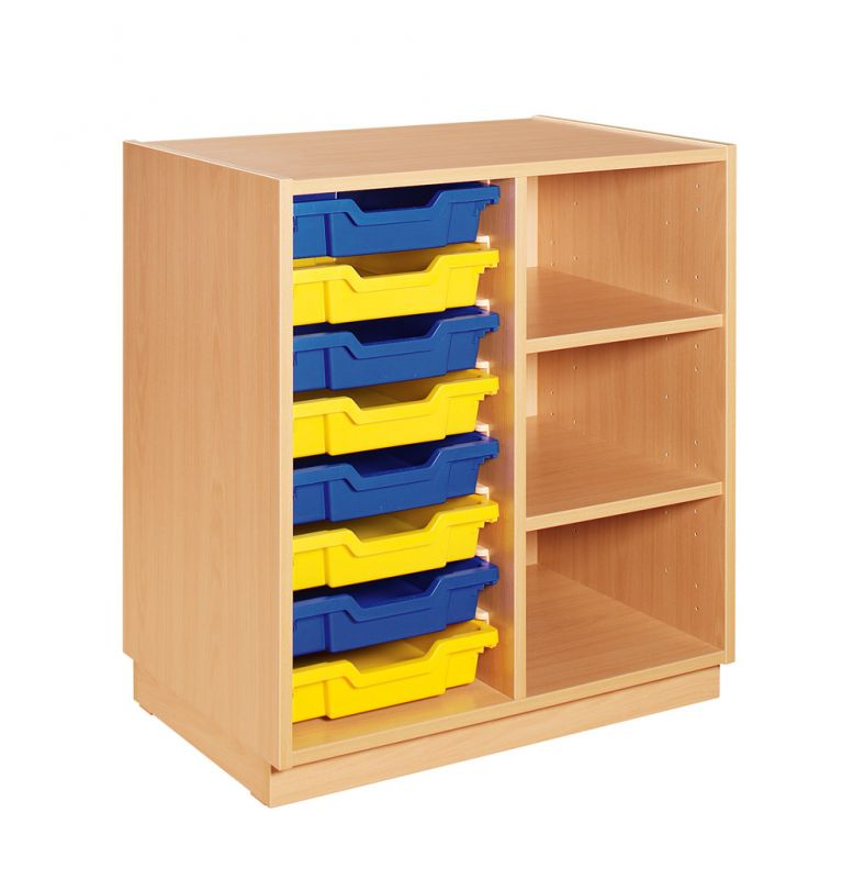 Cupboard with plint, 2 shelves and yellow and blue plastic drawers