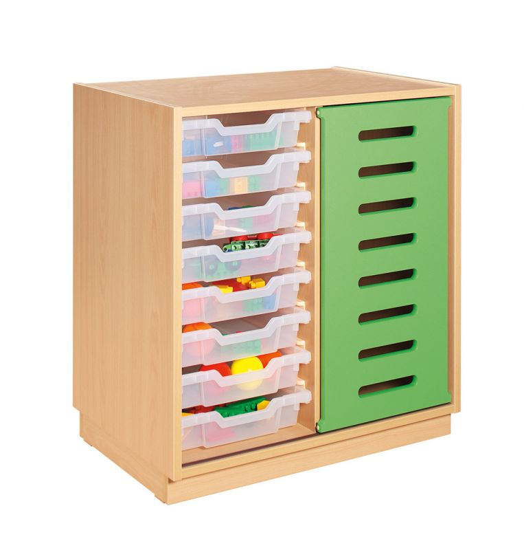 Cupboard with rolling door and plastic drawers