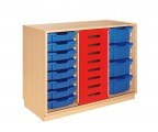 Cupboard with rolling blue door and clear plastic drawers