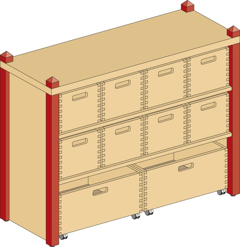 Cupboard with 1 shelf and 10 drawers