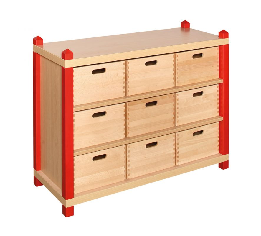 Cupboard with 2 shelves and 9 drawers