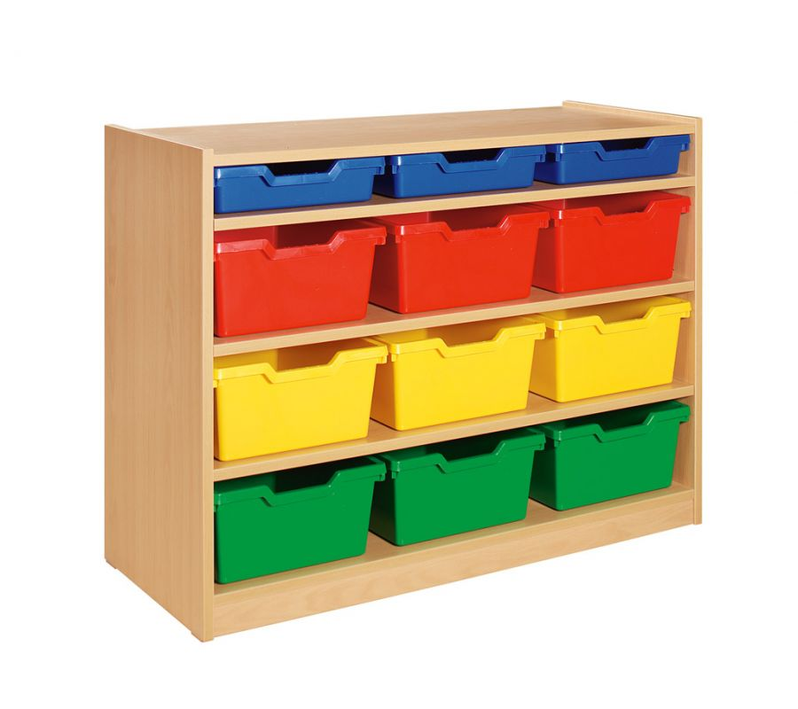 Cupboard with 3 shelves and 12 drawers