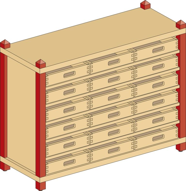 Cupboard with 5 shelves and 18 drawers