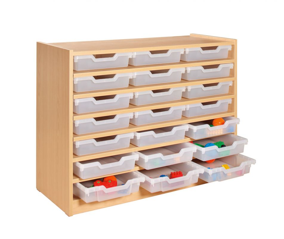 Cupboard with 6 shelves and 21 plastic trays